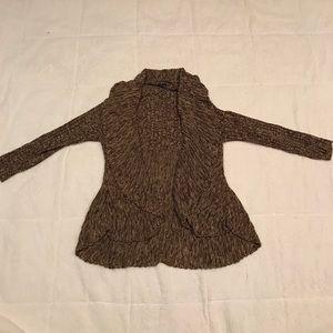 Plus Size Knit Long Brown Cardigan